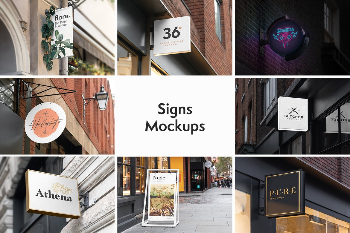 Posters and Outdoor Signs Mockups Bundle